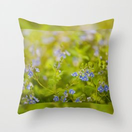 Beautiful blue speedwell flowerets Throw Pillow