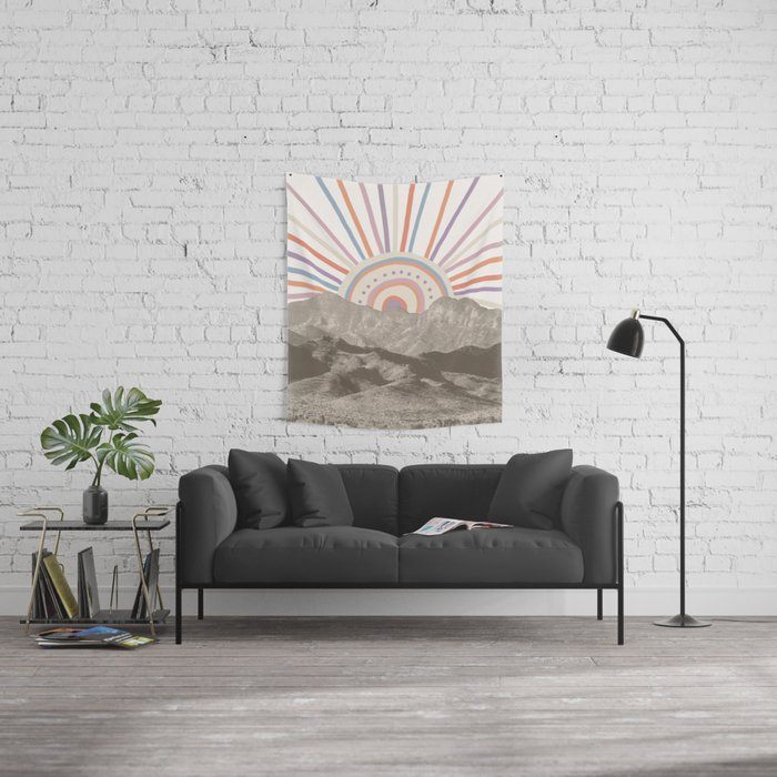 Summerlin Mountain Up // Abstract Vintage Mountains Summer Sun Surf Beach Vibe Drawing Happy Wall Ha Wall Tapestry