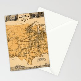 Greyhound Bus Line Map 1935 Stationery Cards