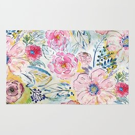 Watercolor hand paint floral design Rug