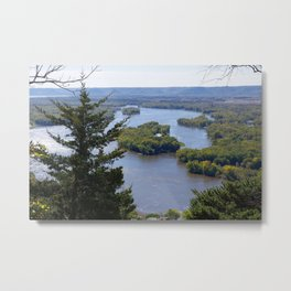 Upper Mississippi River, looking downriver from Buena Vista Park, Alma, WI Metal Print