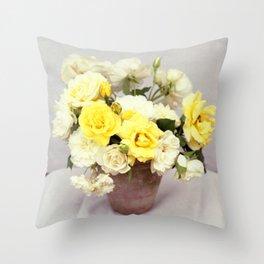 English Garden - Yellow roses bouquet - floral photography Throw Pillow