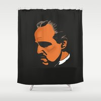 the godfather Shower Curtains featuring Vito Corleone - The Godfather Part I by Tomcert