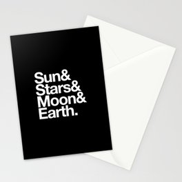 Sun, Stars, Moon, Earth Stationery Cards