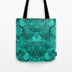 Turquoise Black Tapestry look Intricate design Tote Bag