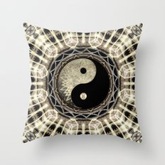 Yin Yang Geometry Mandala V1 Throw Pillow