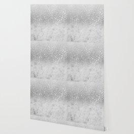 White Marble Silver Ombre Glitter Glam #1 #shiny #gem #decor #art #society6 Wallpaper