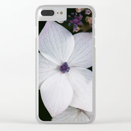 Purple and Blue Hydrangea Clear iPhone Case
