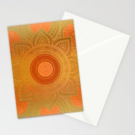 """Savanna Orange-Gold Mandala"" Stationery Cards"