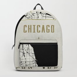 Chicago - Vintage Map and Location Backpack