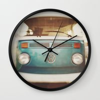 volkswagen Wall Clocks featuring Volkswagen Bus by Briole Photography