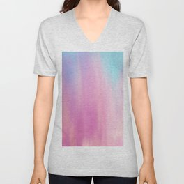 Abstract teal pink watercolor artistic brushstrokes Unisex V-Neck
