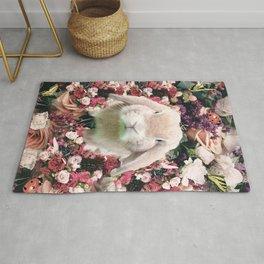 Cute Floral Bunny Rabbit Flower Rug