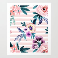 Victoria Blushing Stripe Art Print