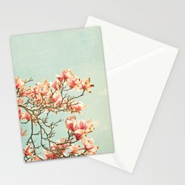 Pink Magnolia Flowers on Aqua Blue Green and French Script Stationery Cards