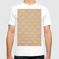 Abstract large scallops in iced coffee with texture MEDIUM Mens Fitted Tee White