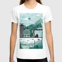 travel poster T-shirts featuring Vancouver Travel Poster Illustration by ClaireIllustrations