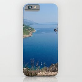 Rocky beach, blue transparent sea in Istria and dry tree, Croatian coast iPhone Case