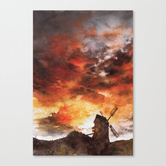 Windmill and the Sunset Sky Canvas Print