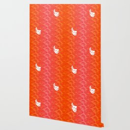 Faces - crying gypsy boy on a red and orange floral background Wallpaper