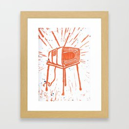 TV Set Lino Framed Art Print