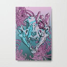 Cougar Skull With Chrysanthemums Metal Print