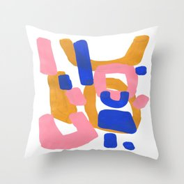 Colorful Minimalist Mid Century Modern Shapes Pink Ultramarine Blue Yellow Ochre Fun Shapes Throw Pillow