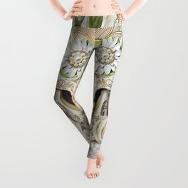 Purity -Sugar Skull, White Roses, Gold, Cactus and Marble Leggings