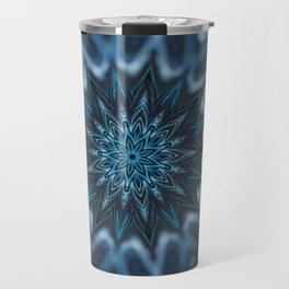 Blue Ice Swirl mandala Travel Mug