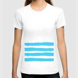 Simply hand-painted teal stripes on white background -Mix & Match T-shirt