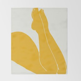 Nude in yellow 3 Throw Blanket