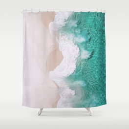 Waves spread out on the coast Shower Curtain