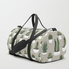 Watercolour cacti & succulents - Beige Duffle Bag
