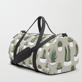 Watercolour cacti & succulents - Beige Duffle Bag