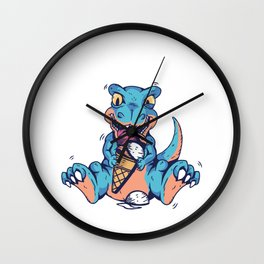 Just A Girl Who Loves Ice Cream and Dinosaurs Wall Clock