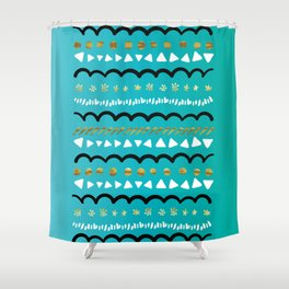 Happy Doodle Pattern Shower Curtain