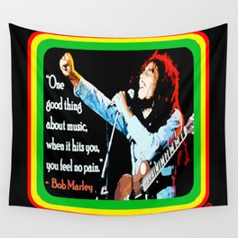 """WITH MUSIC: FEEL NO PAIN"" Wall Tapestry"