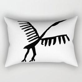 Rock Art Stork ancient times bird animals flay black Rectangular Pillow