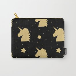 cute gold unicorn silhouette on black background Carry-All Pouch