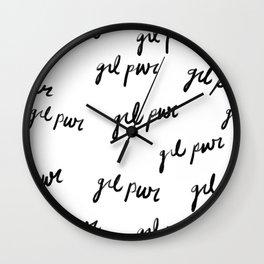 GRL PWR Pattern (Black + White) Wall Clock