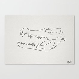 gator skull white Canvas Print