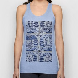 Dutch Delft Blue Tiles Unisex Tank Top