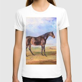 James Ward -  Dr. Syntax, a Bay Racehorse, Standing in a Coastal Landscape T-shirt