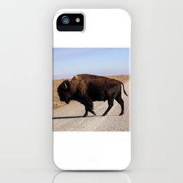 An Oklahoma Landscape of Bison Crossing a Road iPhone Case