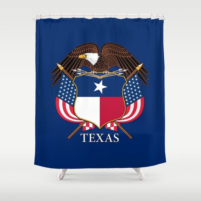 Texas Flag And Eagle Crest Original Design By Brucestanfieldartist Shower Curtain By Bauhaus