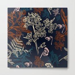 Elegant pattern with field flowers. Dark blue Metal Print
