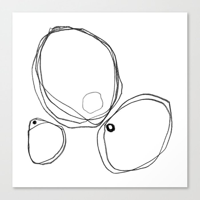 Three Shapes Minimalist Abstract Line Drawing Canvas Print By Mininst
