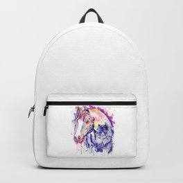 Horse Head Watercolor Portrait Backpack