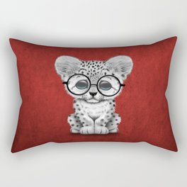 Cute Snow Leopard Cub Wearing Glasses on Deep Red Rectangular Pillow