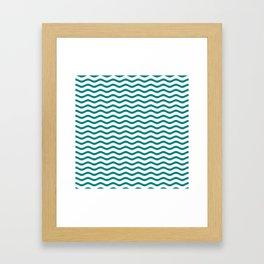 Teal and White Chevron Wave Framed Art Print